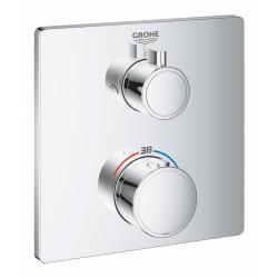 Термостатический смеситель для душа GROHE Grohtherm с переключателем на 2 положения верхний-ручной душ внешняя часть квадратная розетка хром (240790